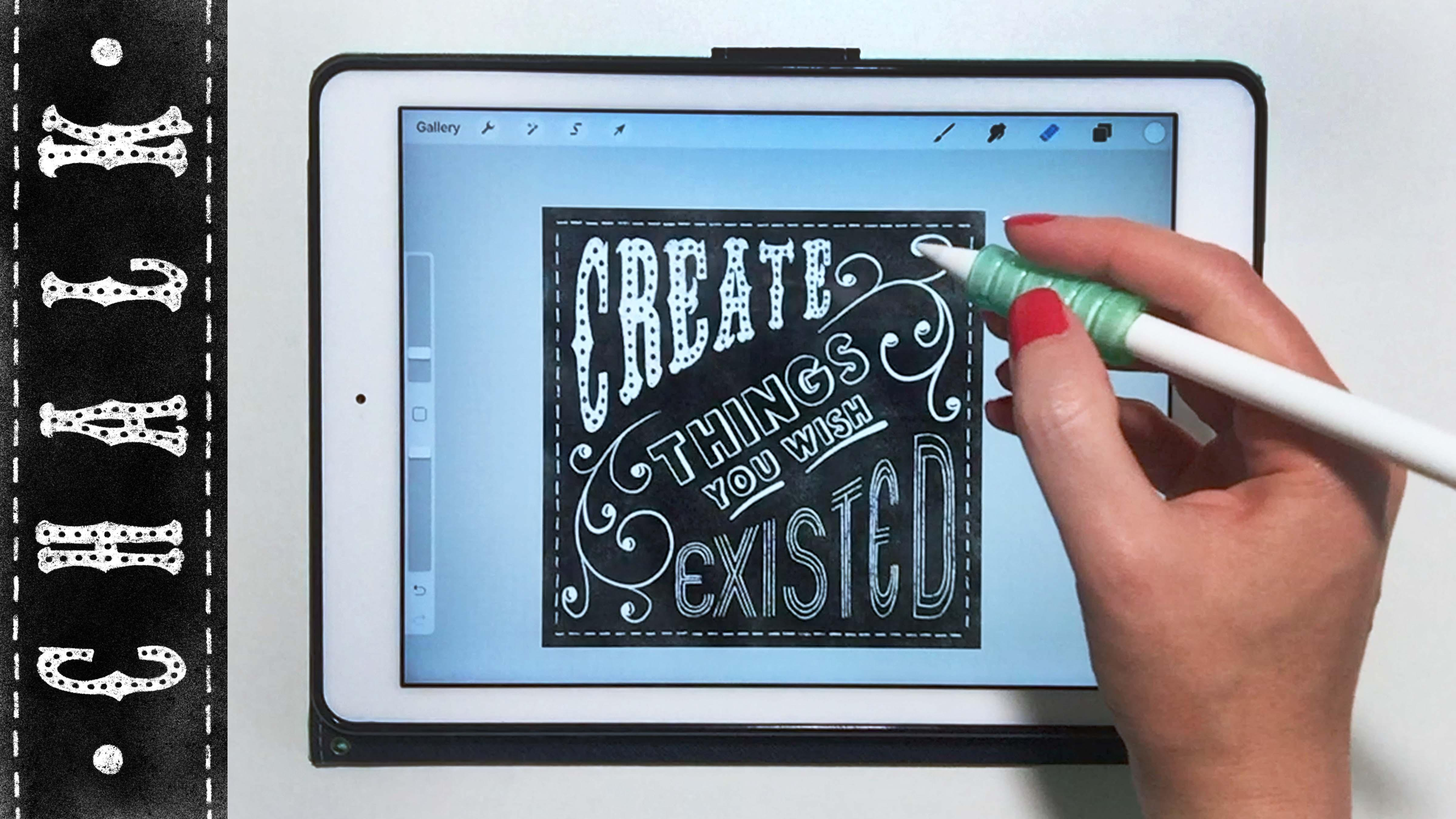 You How To Create Chalkboard Hand Lettering On Your IPad In Procreate When Take This Class Youll Get 11 Free Brushes 15 Templates