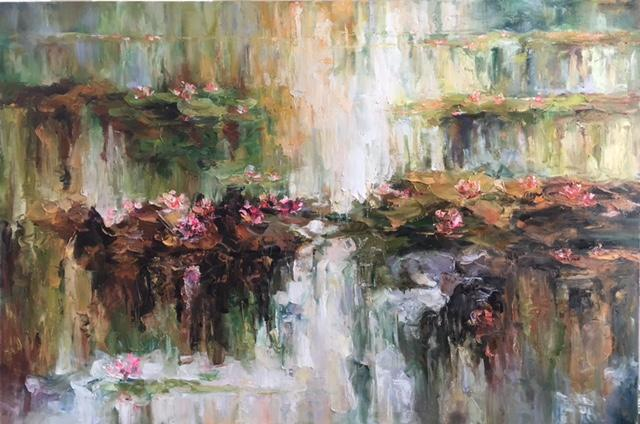 painting water lilies with oil  palette knife  abstract