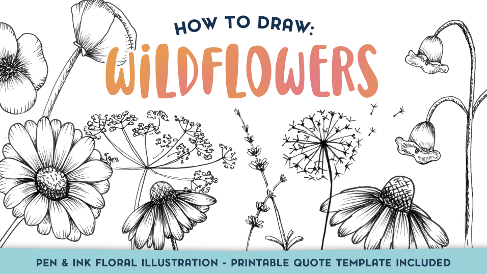 picture regarding Printable Draw named How in the direction of Attract Wildflowers - Ink Floral Instance (Reward