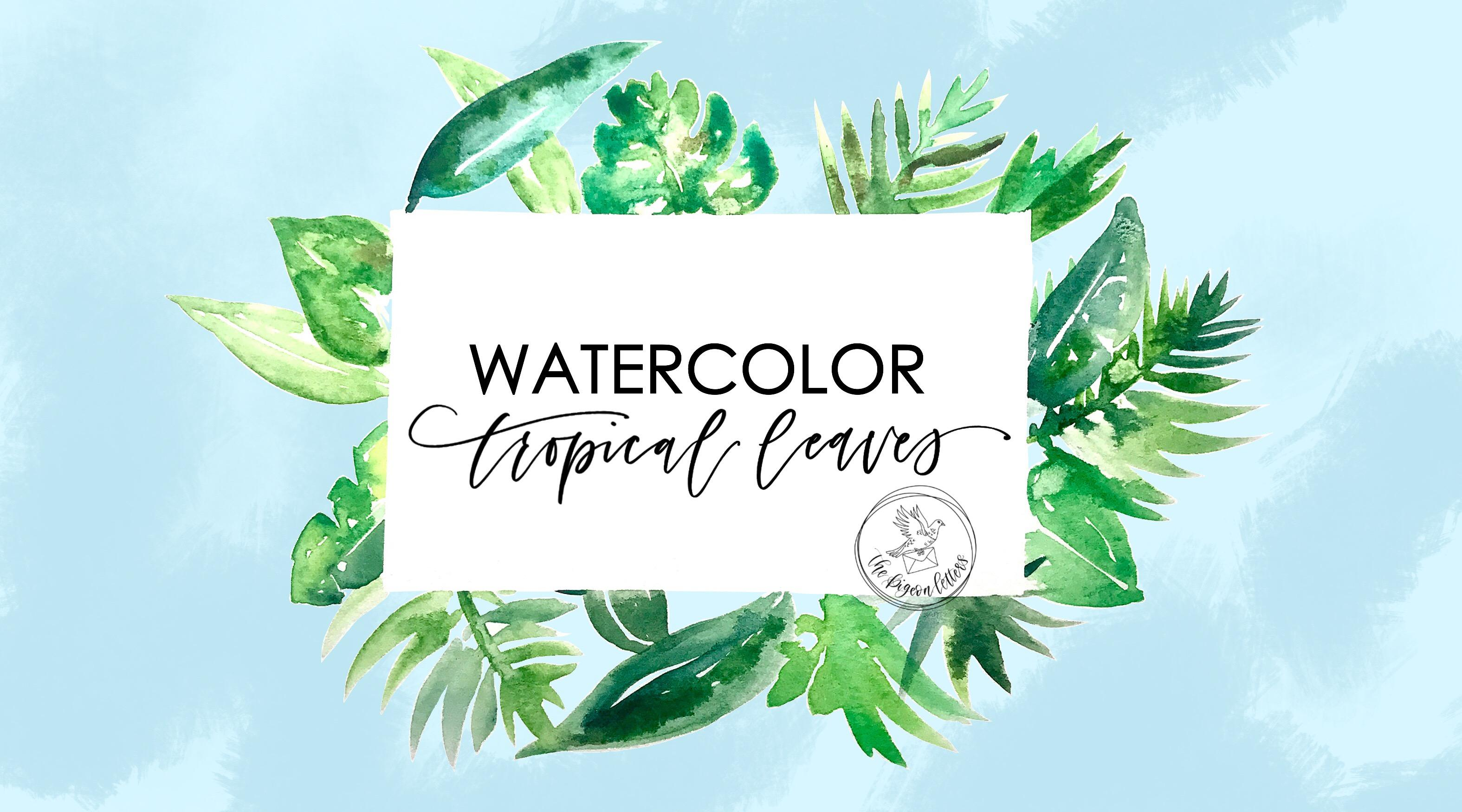 watercolor 9 tropical leaves peggy dean skillshare