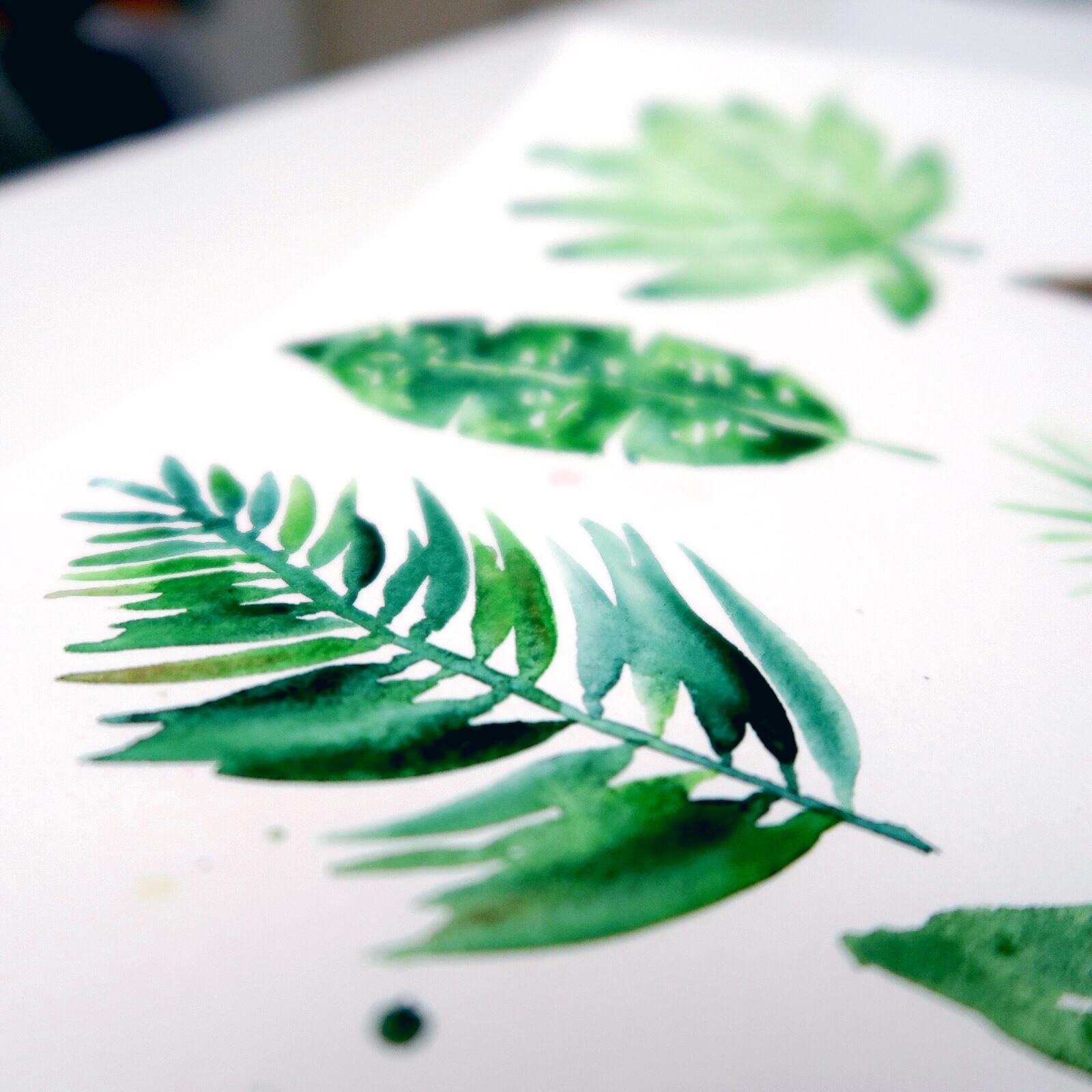 Watercolor: 9 Tropical Leaves