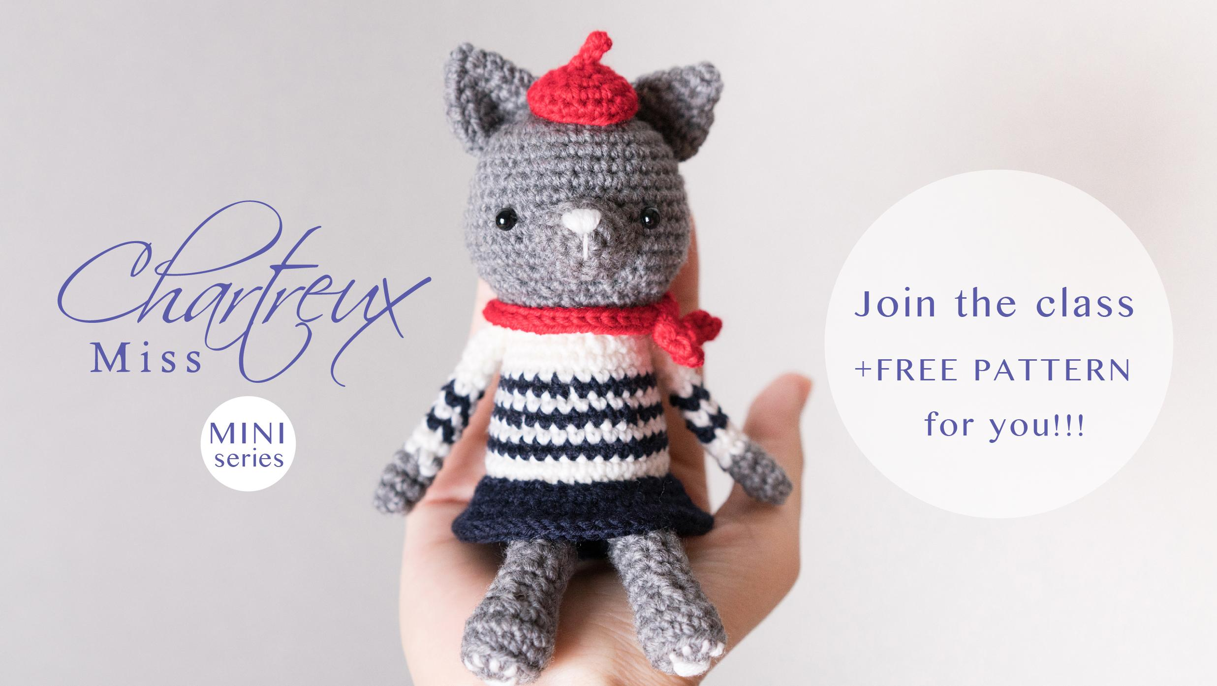 FREE PATTERN} Making Crochet Doll step by step_Miss Chartreux mini ...
