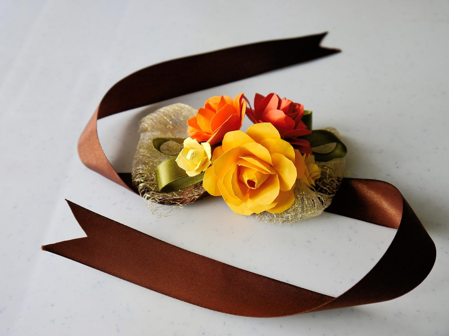 Wrist Corsage For Weddings Prom Or Parties With Paper Flowers