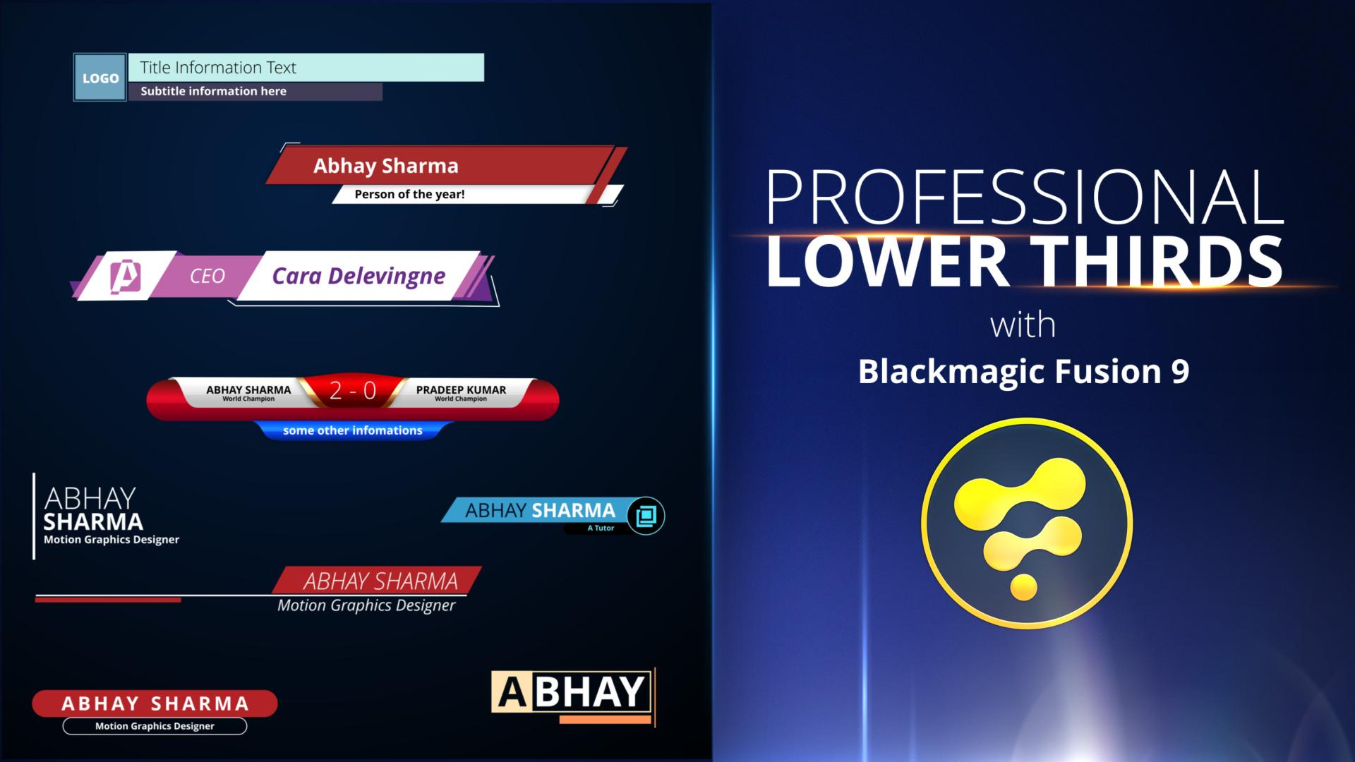 professional lower thirds with blackmagic fusion 9 abhay sharma