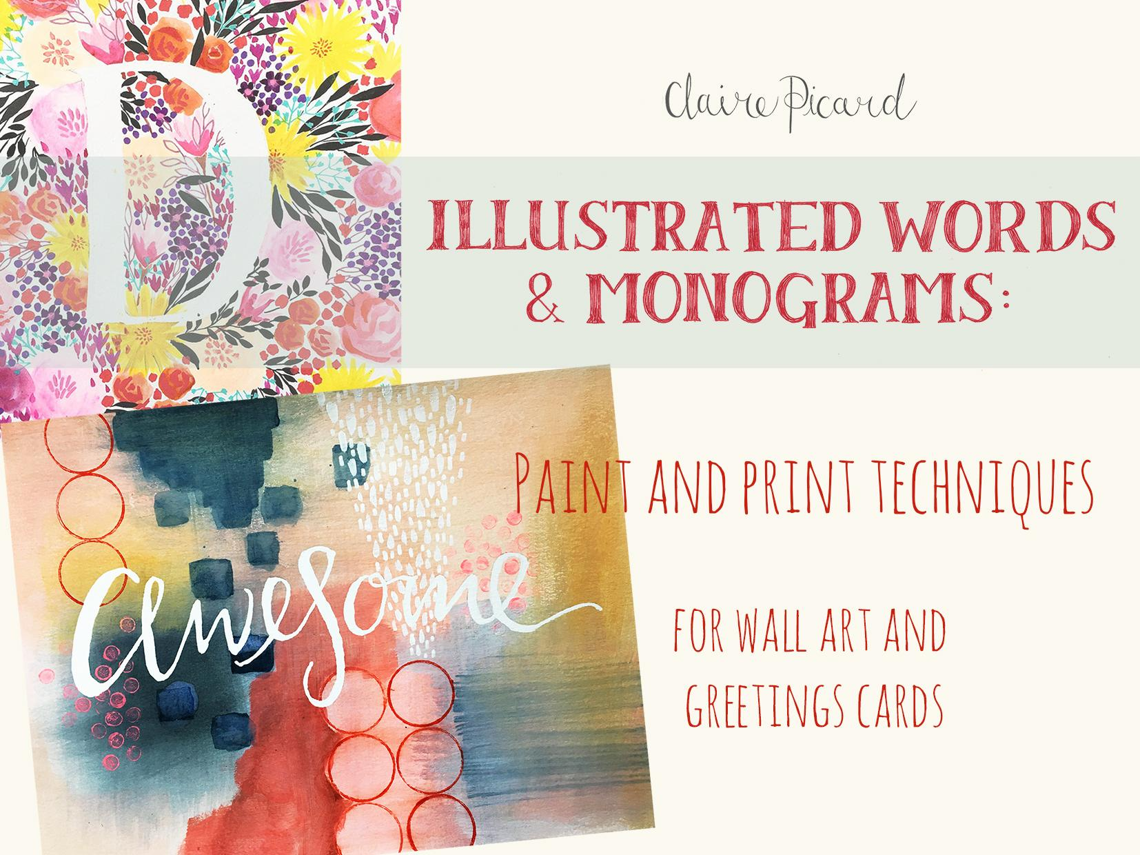 Illustrated words monograms paint and print techniques for wall have you ever wondered how artists and illustrators create beautifully decorated hand painted letters monograms or motivational words to sell in their kristyandbryce Gallery