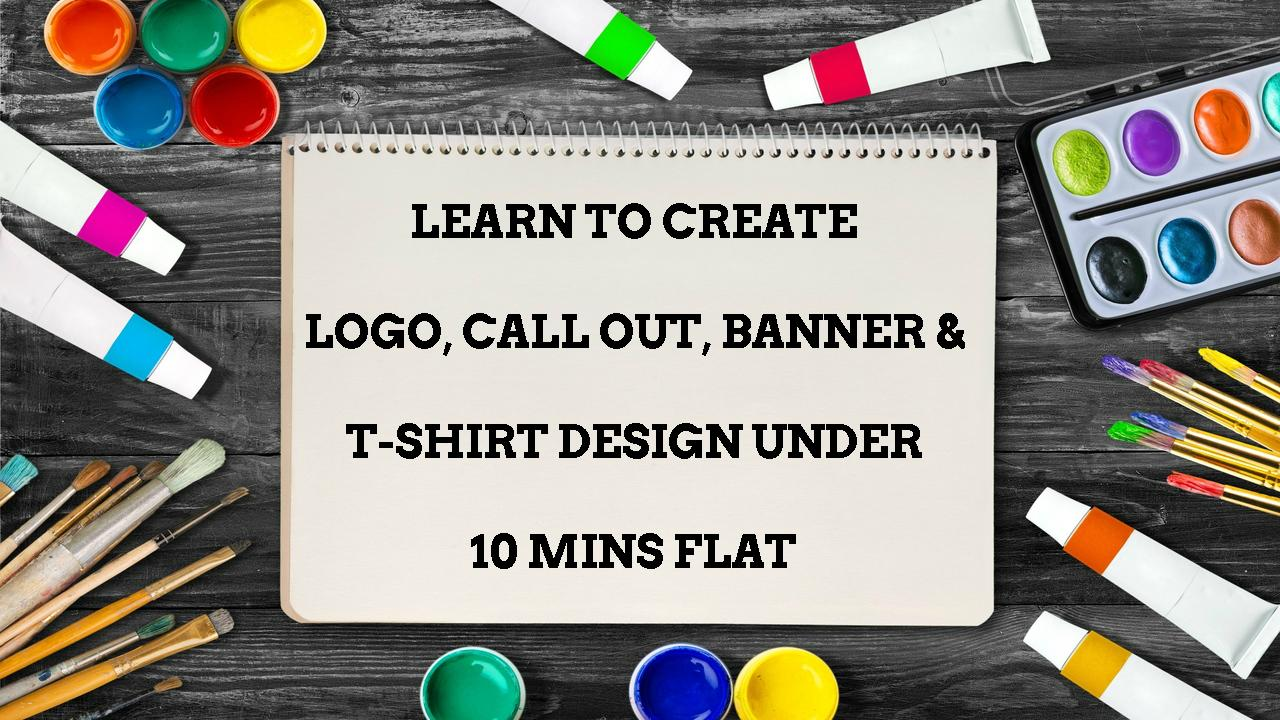 Learn To Create Logo Call Out Banner T Shirt Design