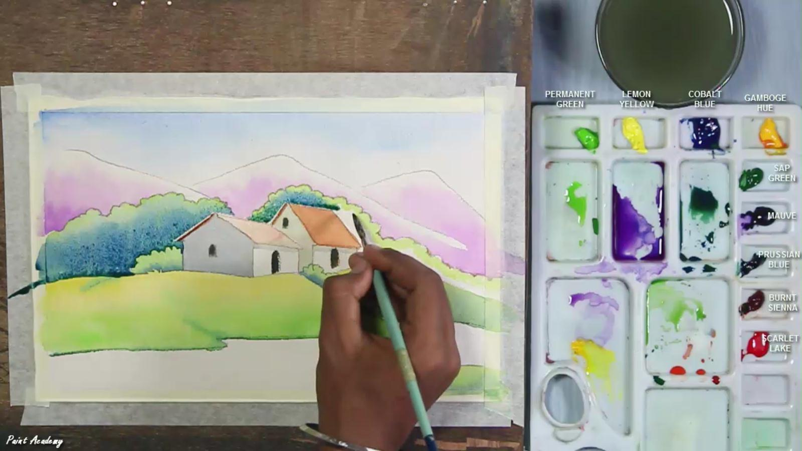 Beginners watercolor scenery painting step by step for Watercolor tutorials step by step