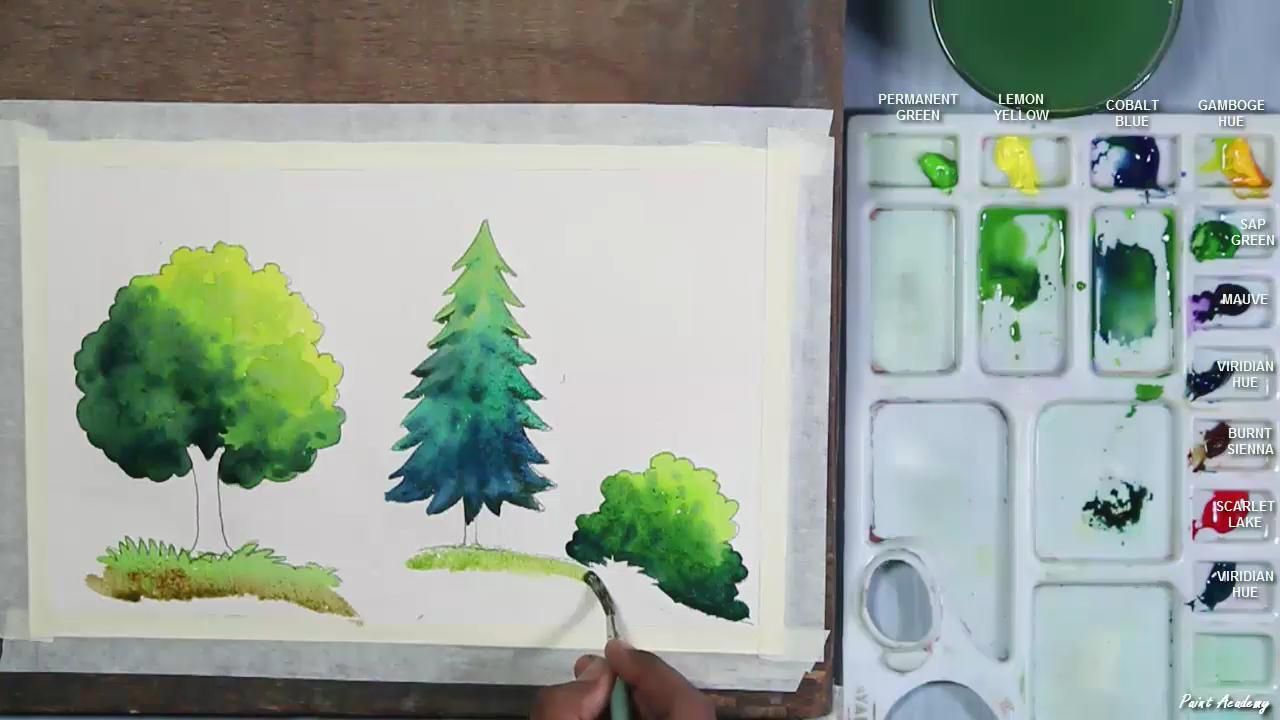 how to paint trees in watercolor for beginners paint academy
