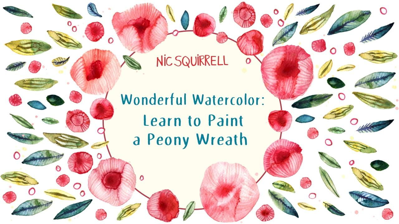 wonderful watercolor learn to paint a peony wreath nic squirrell