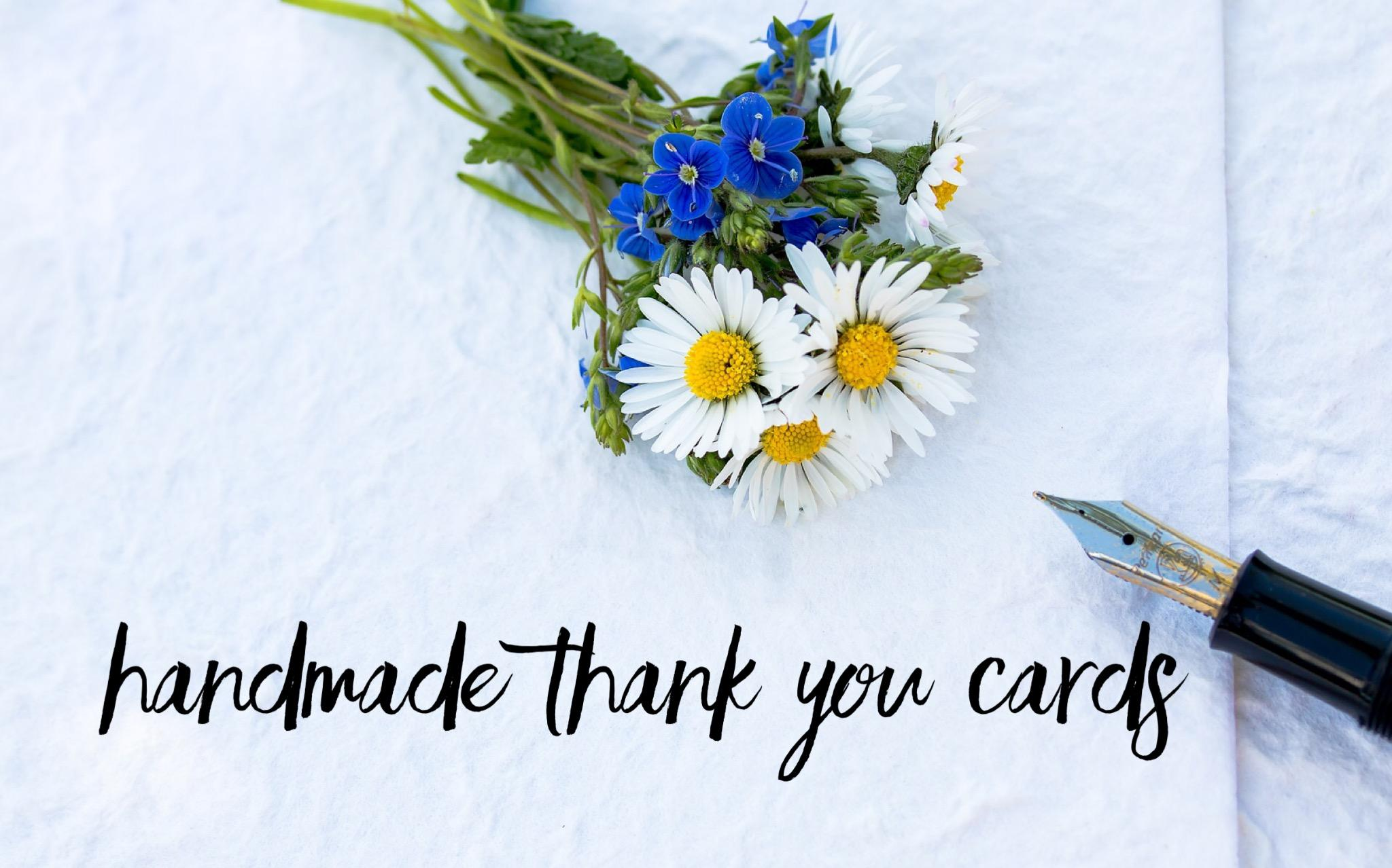 Handmade Greeting Cards Thank You Series Using Flower