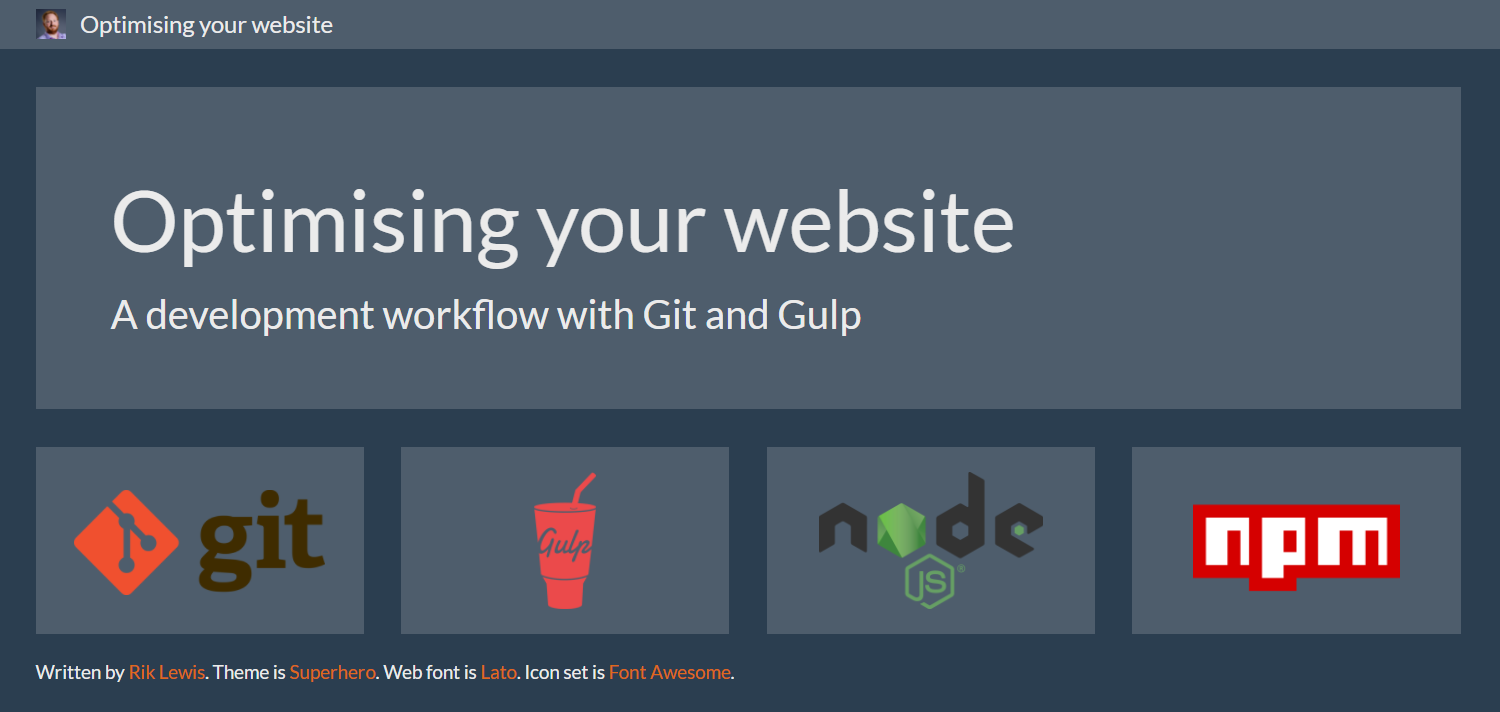 Optimising your website: A development workflow with Git and Gulp