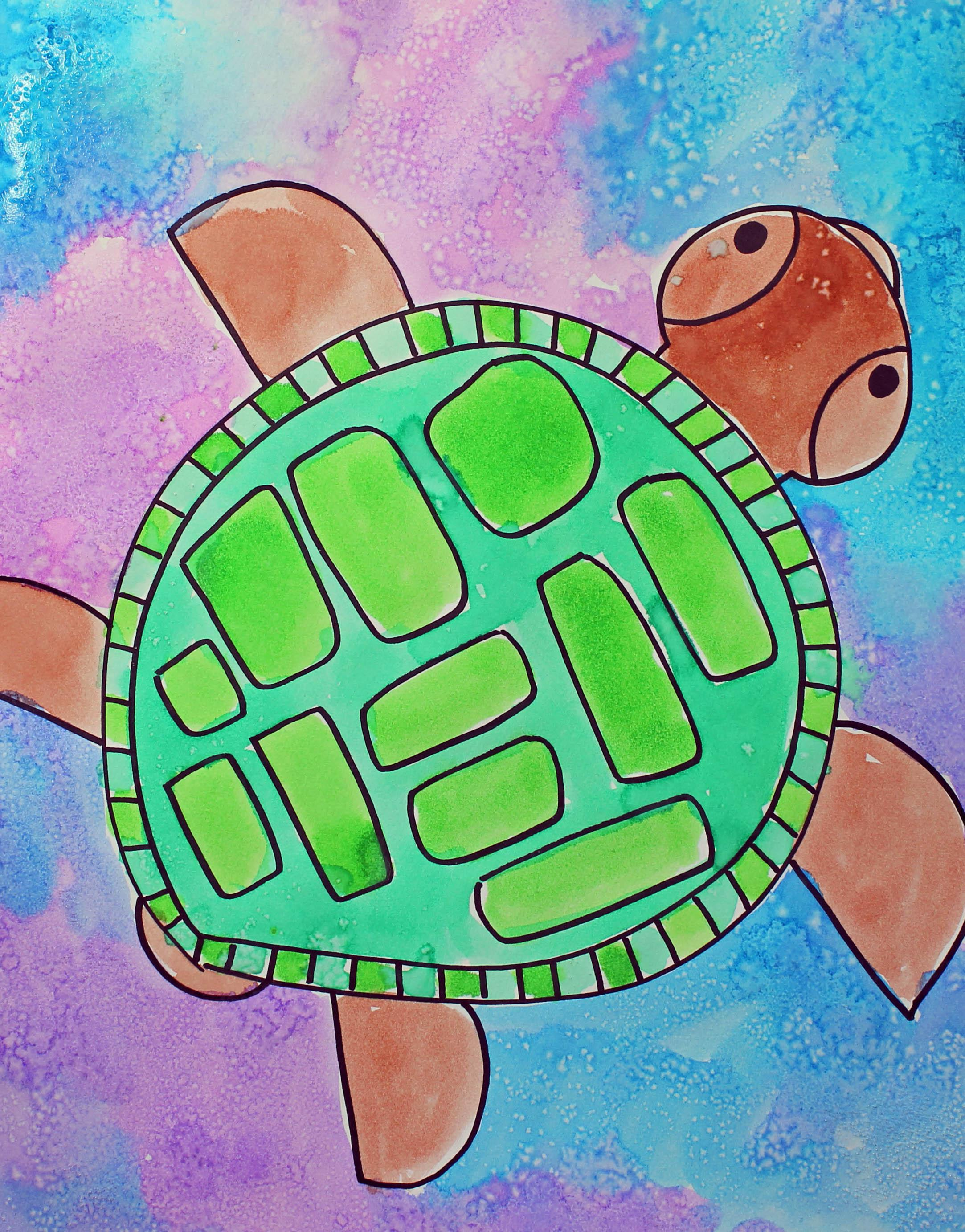 art for kids learn how to draw and paint a cool sea turtle with