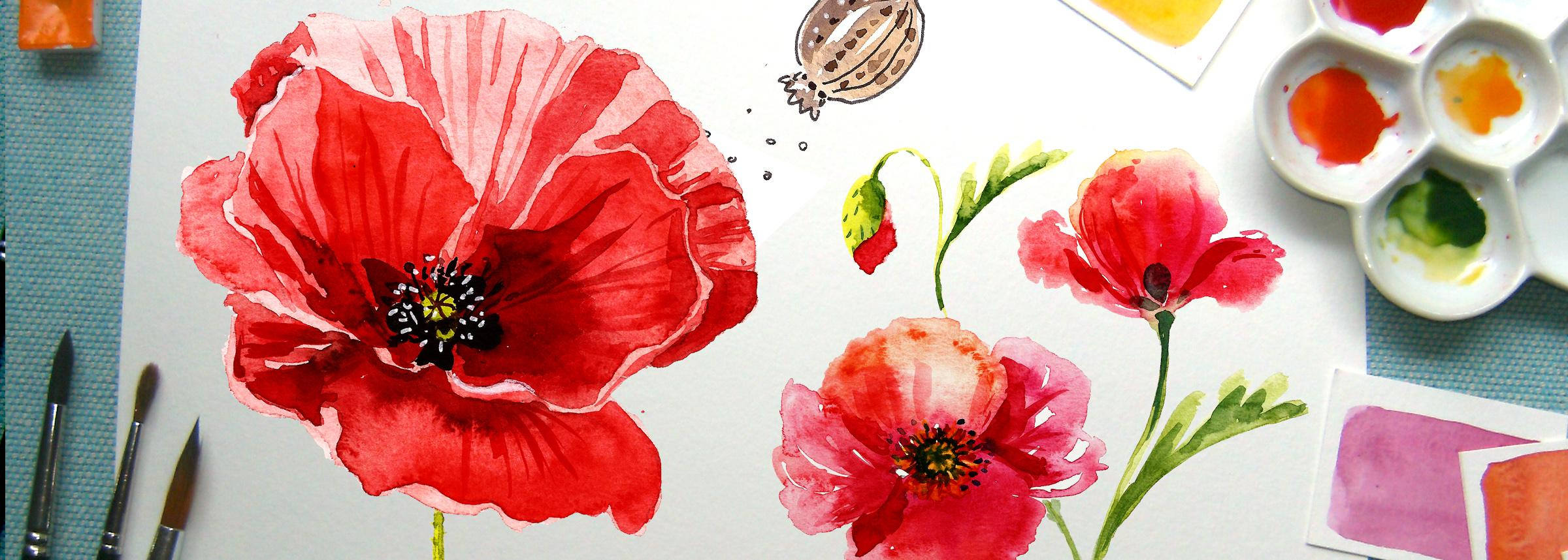 Painting a watercolor poppy explore 3 watercolor styles irina the poppy painting will make a beautiful addition to your creative portfolio or to your wall art collection mightylinksfo