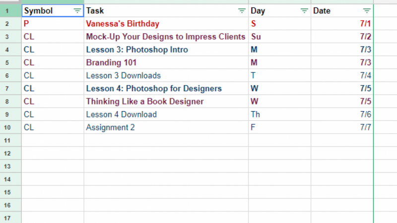 To-Do List (Google Sheets)