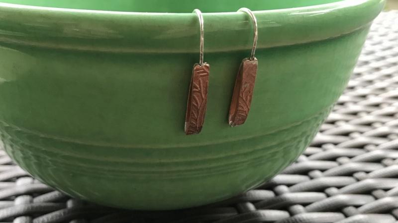 Embossed Leaf Drop Earrings