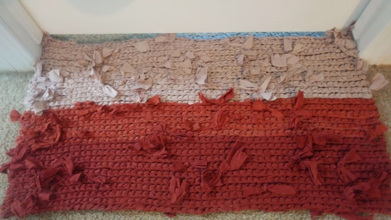 First Try - Crochet Rag Rug from Recycled Sheets