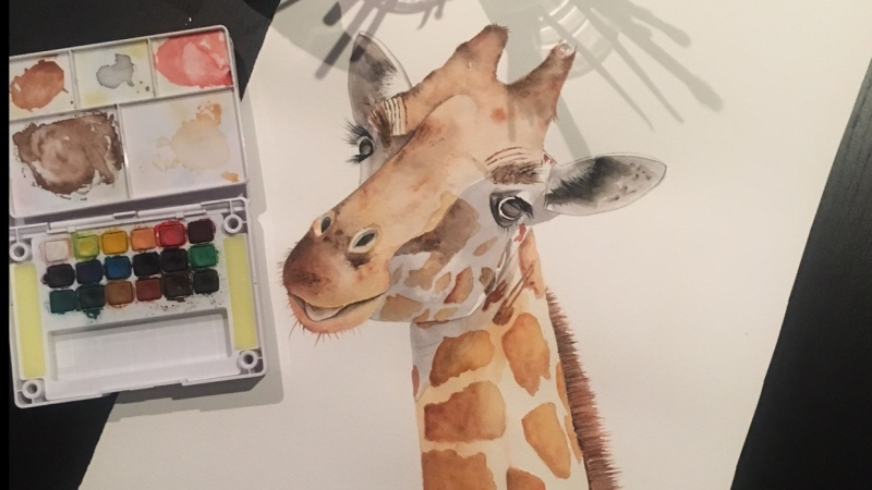Watercolour Giraffe