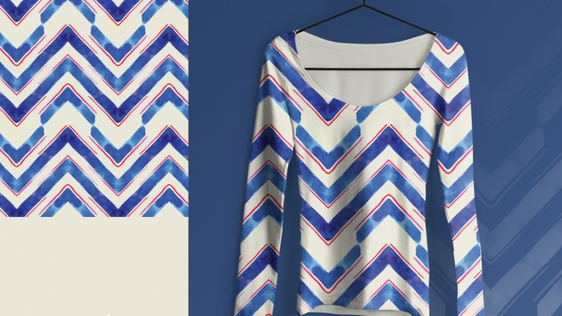Pattern Play: Watercolor V in Blue