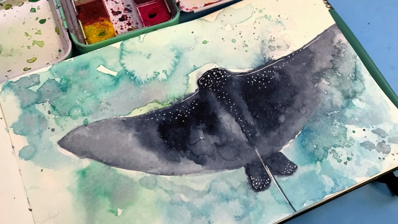 Eagle Ray Watercolor Painting