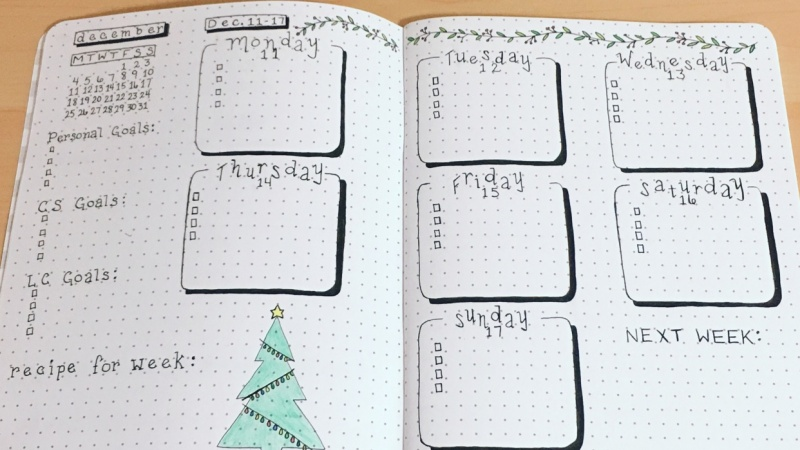 December weekly spread