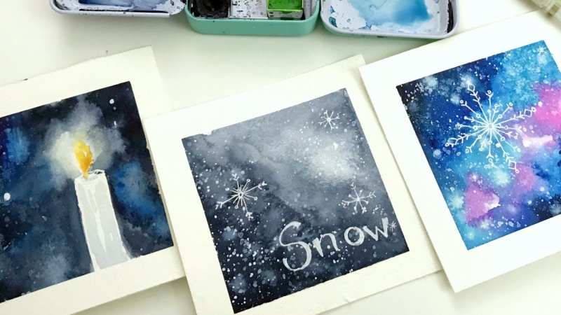 Falling Snow Watercolor & Ink - example