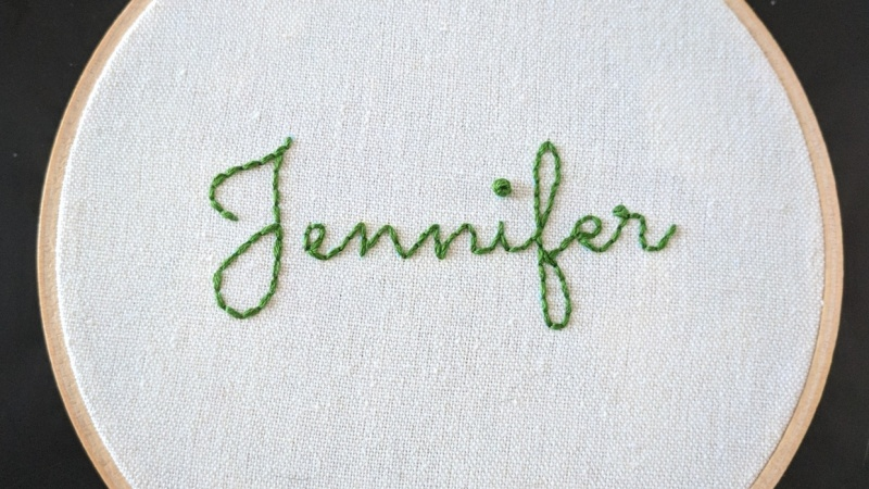 Backstitched Name