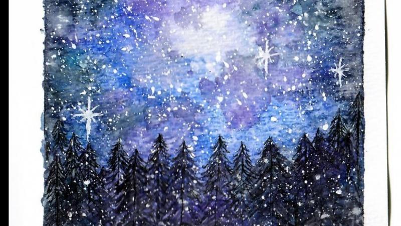 Snowy starry