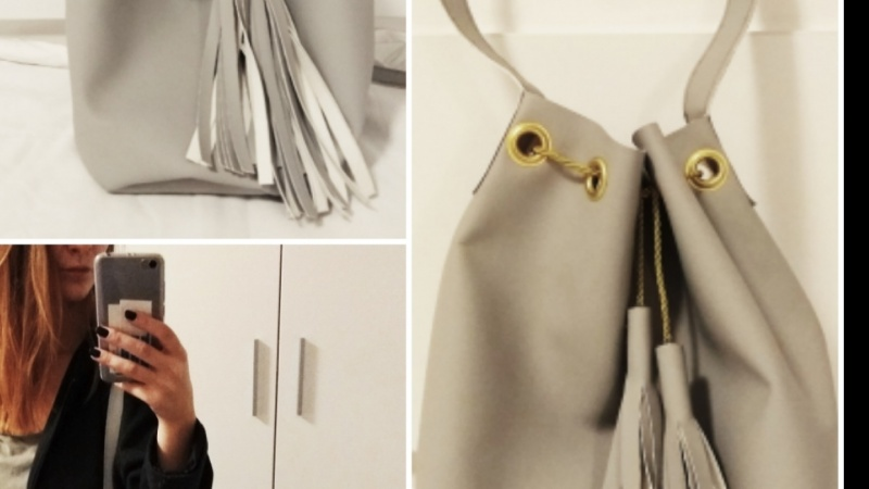 Leather Bucket Bag-gray and gold