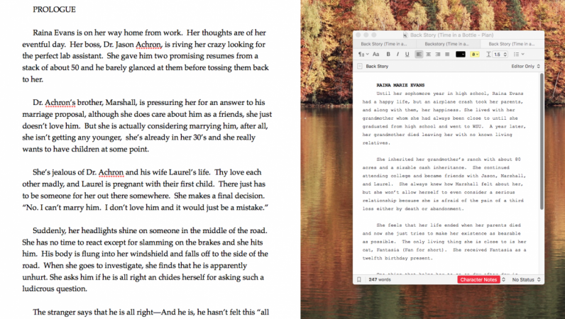 Two Scrivener Projects in Compose Mode