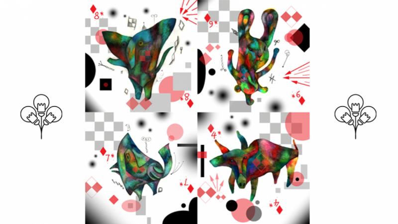 Series of playful animals
