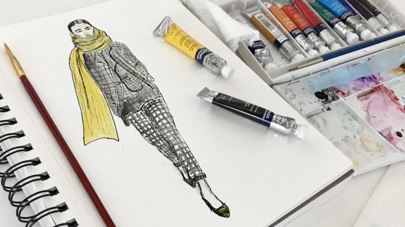 Fashion Illustration- Checked Print Suit