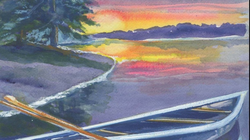 Lake Sunset with Canoe, watercolor by Ev Wesson, Blue Heron Art Studio