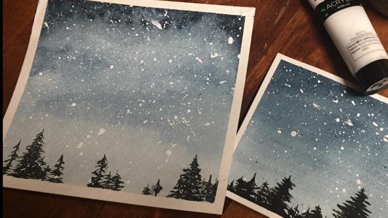 Watercolor Night Sky x2