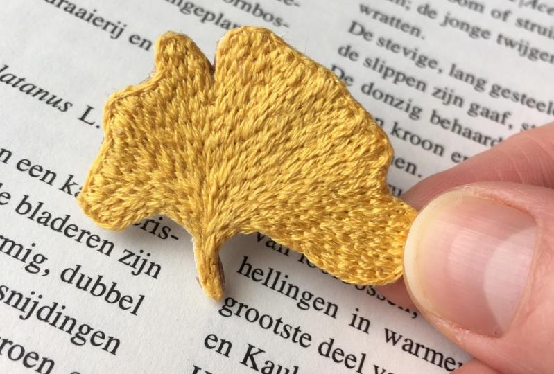 Ginkgo leaf brooch
