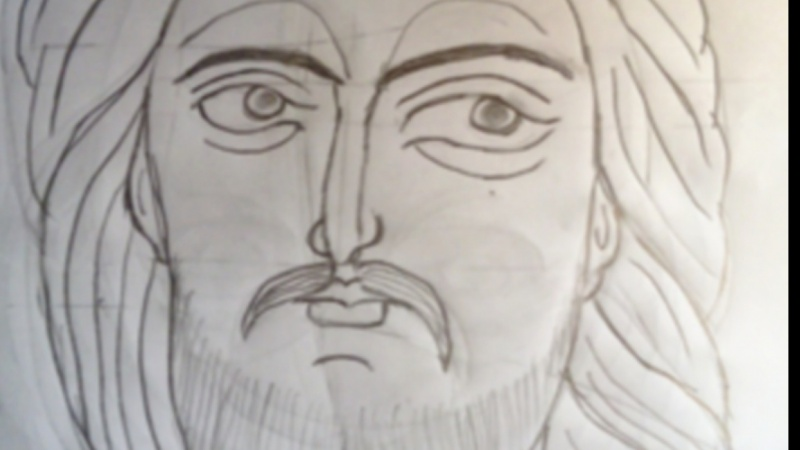 Drawing Christ head.