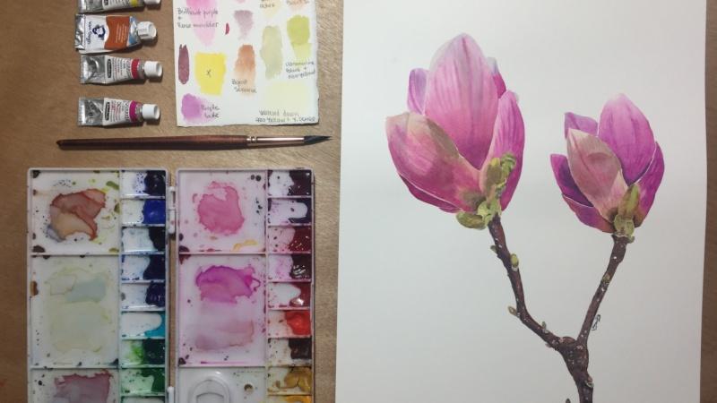 Watercolor Florals: Painting Magnolias