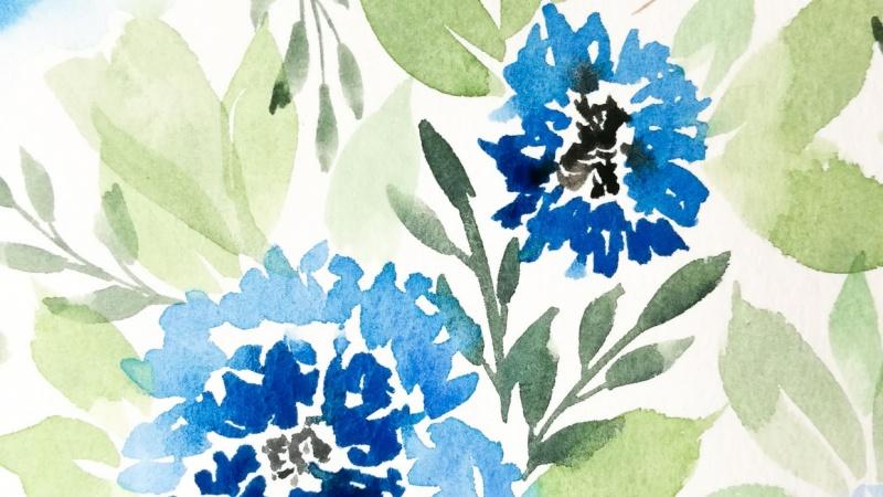 Blue loose florals