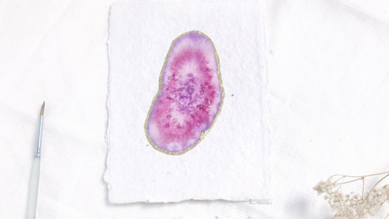 sample project | geodes on handmade paper