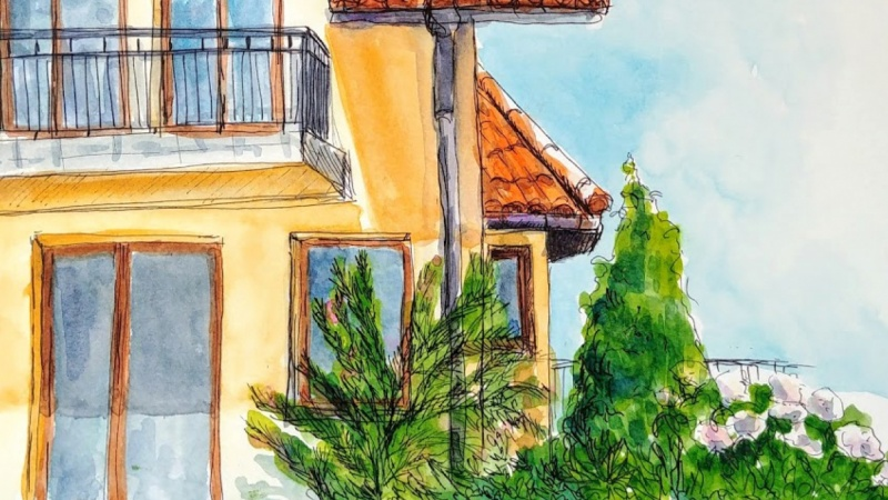Ink and watercolor house