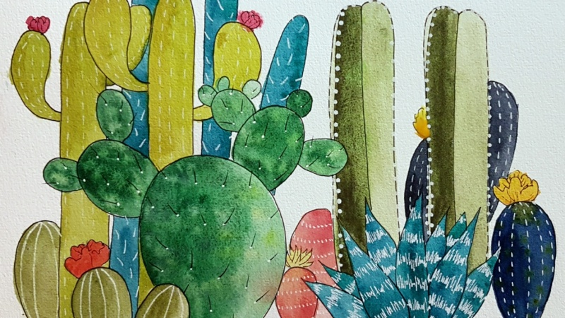 Watercolor & Ink Cacti with Courtney Bray's class