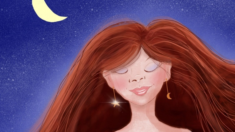 Redhead Dreaming in the Moonlight