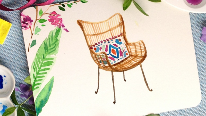 Watercolor Garden Chair {Sample Project}