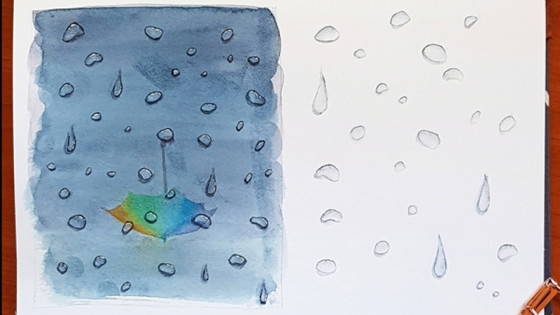 Watercolor droplets