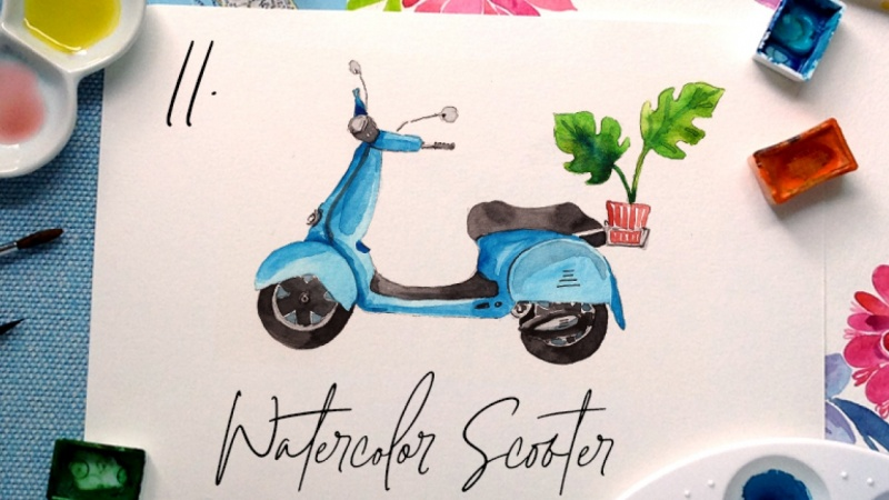 Watercolor Scooter {Sample Project}