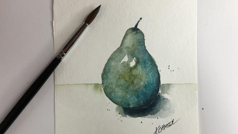 Watercolor Pear by Kellie