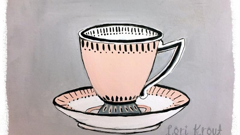 Pink and Black Teacup