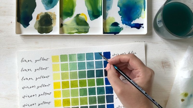Mixing Greens in Watercolour