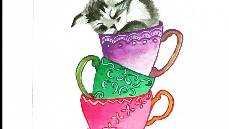 Stacked Teacups and sleepy kitty