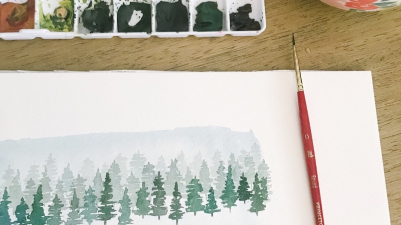 Watercolor Trees & Gift Tag