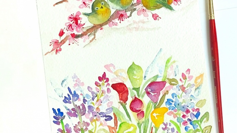 Watercolour loose florals